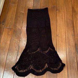 Free People Black Crochet Maxi Skirt
